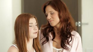 Teen threesome, Redhead, Teen sex, Moms, Mom, Stepmom