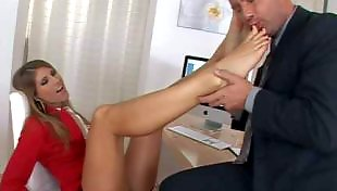 Secretary, Sexy feet, Feet lick, Red nails, Feet licking
