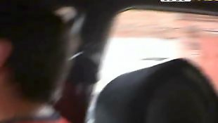 Car, Pale, Beautiful, Long hair, Close up blowjob, Car blowjob
