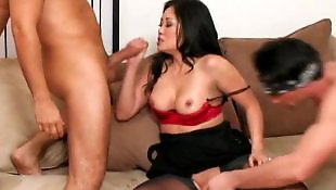 Asian handjob, Asian threesome