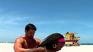 Interracial amateur, Beach, Step