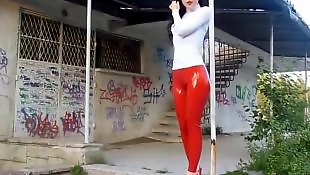 Leggings, Legs, Public, Red, Nudist, Leg
