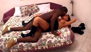 Interracial amateur, Leather, Orgasm, Bouncing, Underwear