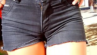 Cameltoe, Jeans, Shorts, Flashing, Short, Big tits