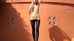 Striptease, Pantyhose solo, Sasha blond, Outdoor, Sasha blonde, Blonde solo