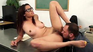 Hairy pussy, Ass lick, Hairy brunette, Cum on pussy, Hairy, Glasses