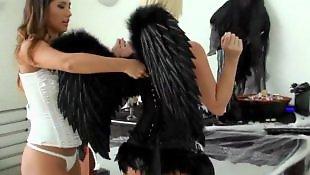 Lesbian lingerie, Molly cavalli, Black lesbian, White lingerie, Eva lovia, Lingerie lesbians