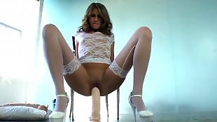 Riding dildo, Solo lingerie, Young solo, Dildo riding, Huge toy, Dildo ride