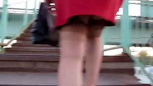 Upskirt, Flashing, Flash, Voyeur, Red, Stockings