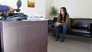 Jeans, Pale, Office, High heels, Strip, Interview