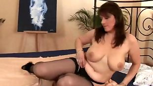 Mature, Mature fuck, Stockings fuck, Milf stockings, Tit fuck, Mature stockings