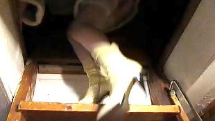 Upskirt, White stockings, White, Stockings