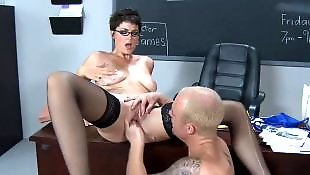 High heels, Short hair, Glasses, Teacher, Natural tits, Seduce