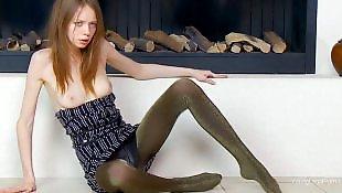 Slim teen in panties solo fingering on cam -