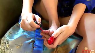 Toes, Red nails, Pale, Long toes, Red hair, Polish