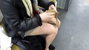 Upskirt, Flashing, Public, Amateur stockings, Nudist