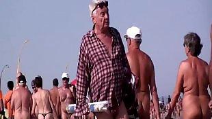 Nudist, Beach, Walking, French, Voyeur, Nude
