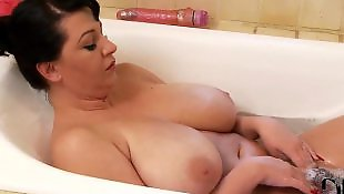 Hairy pussy, Pussy close up, Hairy dildo, Bathroom, Hairy brunette, Big natural boobs