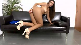 High heels, Small tits, Couch, Heel insertion