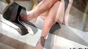 Heels, Legs, High heels, French, Nipples, Tease