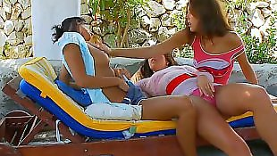 Double dildo, Lesbian orgy, Dildo machine