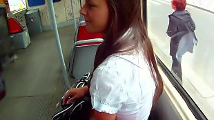 Public, Bus, Nudist, Teen, Cumshot, Public blowjob