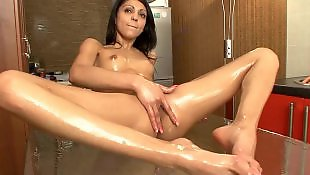 Wet pussy, Tall, Hairy masturbation, Hairy brunette, Hairy pussy, Table