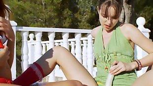 Vika and, Turned, Turn on, Turn lesbian, Redheads dildo, Redhead shaving pussy